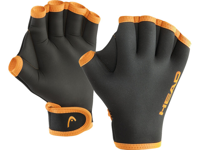 Head Swim Gloves, black/orange